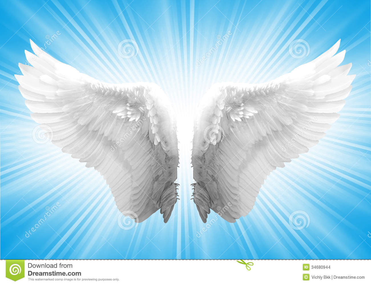 White Ngel Wing Angel Blue Background 34680944